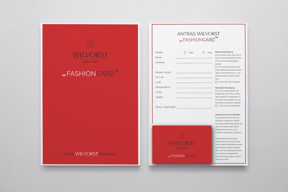 Der Antrag und das Deckblatt der Wilvorst Fashion Card